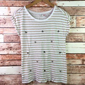 🐙 Ann Taylor Factory Linen Blend Striped Blouse